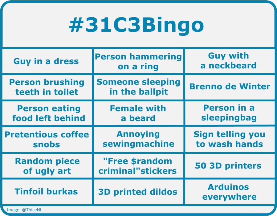 La grille de bingo du 31C3 publiée sur Twitter par Thijs Bosschert (@ThiceNL)